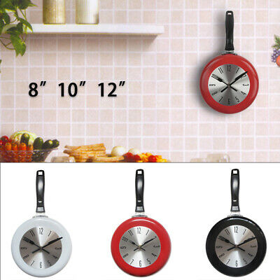 Modern 8/10/12  Kitchen Wall Clock Frying Pan Shaped Home Room Cafe Bar Decor • 14.98£