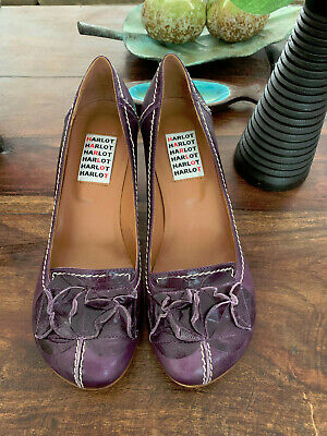 £25.24 • Buy HARLOT Purple Leather Shoes Made In Italy Size 40/US 9