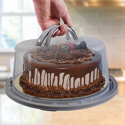 £6.99 • Buy Large Plastic Cake Cheese Dessert Dome Cover Carrier Plate Sealed Lockable Lid