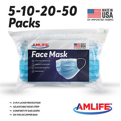 $29.95 • Buy 5/10/20/50 Face Mask Disposable Medical Surgical Dental 3-Ply Mouth Cover