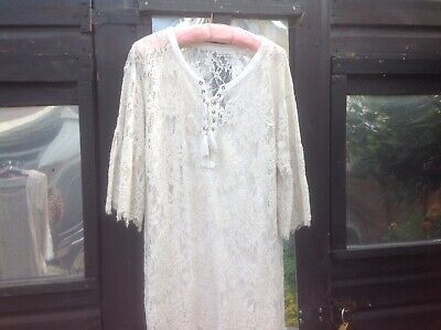 £15 • Buy Made In Italy Beige Cotton & Lace Effect Lagenlook Dress Size S 10