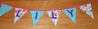 £7.25 • Buy LILY - PERSONALISED HANDMADE Girls Butterfly Bunting Gift/New Baby/Christening