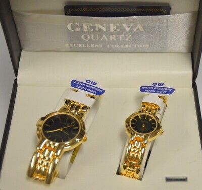 Geneva Quartz Watches - His And Hers - Gold Tone-bracelet With Black Face. • 42.23£