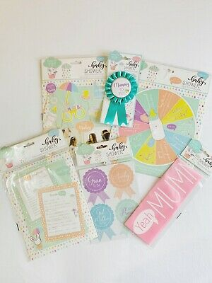 Baby Shower Games Boy Girl Props Mummy To Be Badge Sash Guest Pack Bundle  • 3.49£