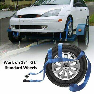 AU42.99 • Buy 2 PCS Car Tire Tow Dolly With Hook Basket Strap Flat Adjustable Fit 17 -21  Tire