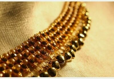 New Indian Bollywood Hand Piece Panja Bracelet And Ring Pearl Beads Gold Kundan  • 6.99£