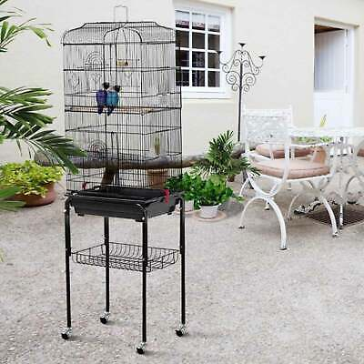 £52.99 • Buy Large Metal Parrot Aviary Bird Open Top Cage Wheels Perch Slide-Out Tray 150cm