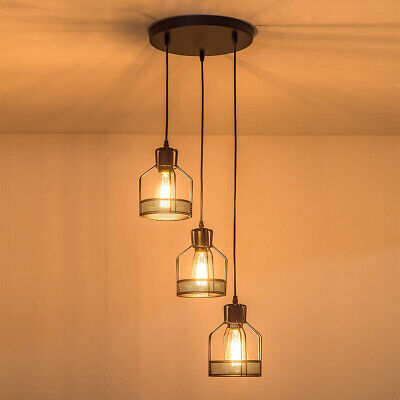 Modern 3 Way Ceiling Pendant Cluster Light Fitting Bird Cage Style Lights Black • 38.89£