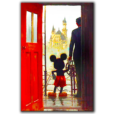 Mickey Mouse And Walt Disney Castle | Canvas Print Wall Art Photo | 3 Sizes • 32.97£