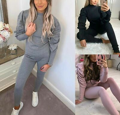 Ladies High Neck Ruched Puff Sleeve Top Bottom Ribbed Loungewear Tracksuit Set • 22.90£