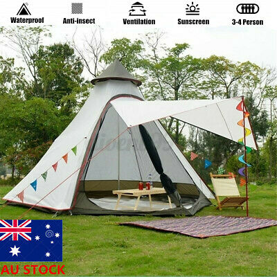 AU188.39 • Buy 4-Person Large Waterproof Double-Layer Family Automatic Tent For Beach Camping