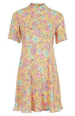 Topshop Boutique Funnel High Neck Floral Print Silk Swing Dress • 45£