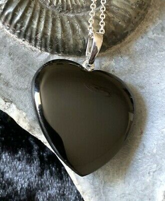 Hand Crafted Solid Whitby Jet Heart Pendant & Chain #018 • 48£