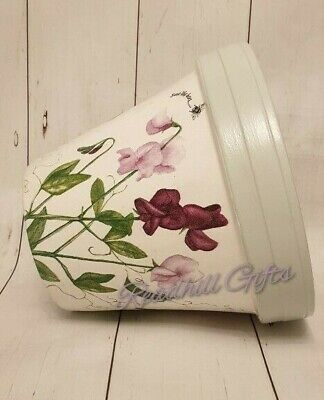 Hand Painted And Decoupaged Sweet Pea Save The Bees Plant Pot • 12.99£