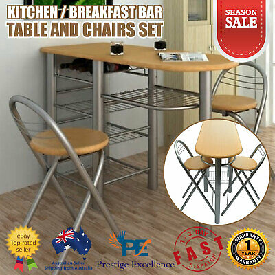 AU178.90 • Buy Dining Table And Chairs Set Kitchen Breakfast Bar Furniture Wooden Steel 3 Piece