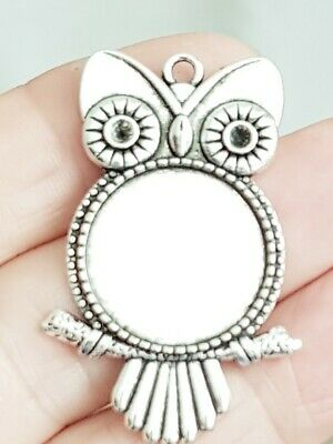 4 Big Blank Owl Cabochon Pendants Bezel Setting Tray Antique Silver Base 20mm  • 3.99£