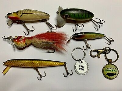 $ CDN33.94 • Buy Vintage Antique Fishing Lure Lures Lot + 2 Key Chains Moonlight