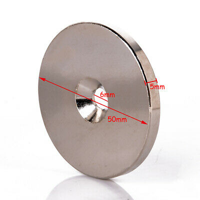 AU9.99 • Buy 1x N52 Super Strong Round Magnets 50mm X 5mm Hole 6mm Disc Rare Earth Neodymium