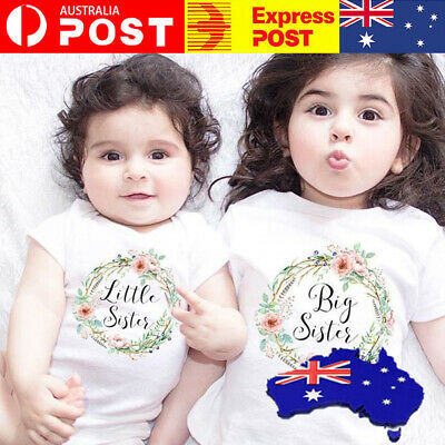 AU17.50 • Buy Baby Girl Clothes Little Big Sister Floral Print T-shirt Jumpsuit Romper AU