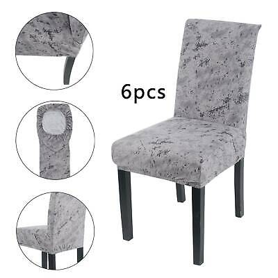 6PCS Dining Chair Seat Covers Slip Stretch Wedding Banquet Party Removable NEW • 16.99£