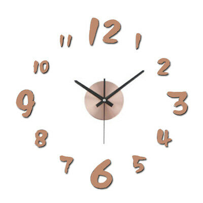 Super Silent Large DIY Wall Clock 3D Mirror Number Sticker For Home Office Kids • 9.48£