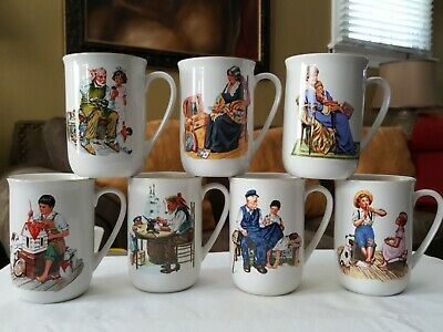 $ CDN25.46 • Buy Norman Rockwell Museum Collection 1986 Coffee Mugs Cups Gold Trim Set Of 7