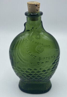 $19 • Buy Vintage Wheaton Green Fish Bottle Dr Fisch's Bitters 7 1/2  With Cork