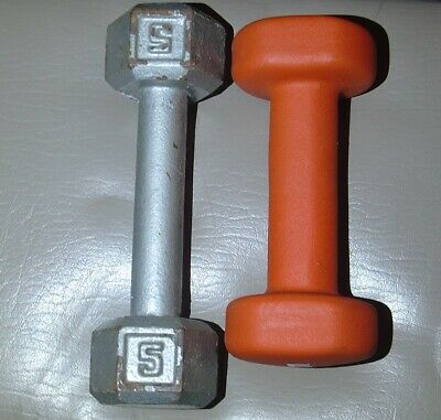 $ CDN46.82 • Buy 5 Pound Dumbbell Lot Metal Hex & Gaiam Mixed Set 5lbs Exercise Weightlifting