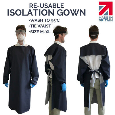 PPE Isolation Gown - Waterproof PU - Wash At 95 - BS7175 CRIB5 Hospital • 18.99£