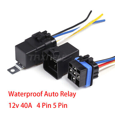 $ CDN10.85 • Buy Waterproof Auto Relay 4pin 5pin 40A 12v 24 Car Relay+ Holder 105mm Length Wires