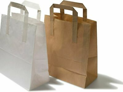 White & Brown With Flat Handle Strong Biodegradable Kraft Paper Bags All SIZES   • 15.90£