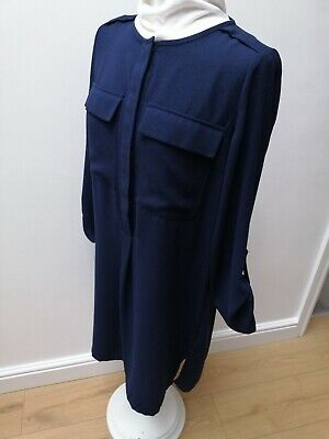 Navy Blue Size 10 M&S Collection Work Office Business Smart Pleated Dress • 7.75£