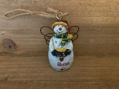 $ CDN8.51 • Buy Country Snowman Angel Holiday Ornament Personalized ALISON