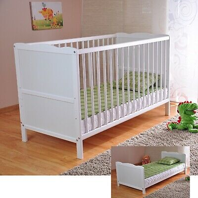 Baby Dropside Cot Bed White Junior Toddler Bed With Deluxe Sprung/Foam Mattress • 109.99£