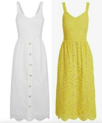 NEW LOOK  Broderie Button Detail Midi Dress In 2 Color Sizes 6 To 16 • 13.99£