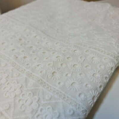 100% Cotton Premium Broderie Anglaise Embroidery Hole Border Floral Design 44   • 7.95£