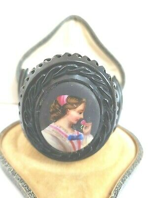 Antique Victorian  Whitby Jet /jet Painted   Cameo  Cuff Bracelet 1880  Goth   • 155£