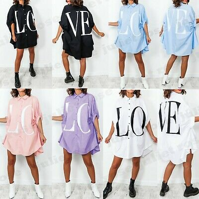 Women's Ladies Love Print Oversized Collared Button Up Fashion Shirt Dress Top • 18.99£