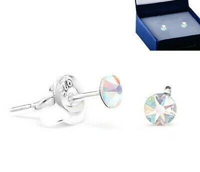 £4.99 • Buy 925 Sterling Silver Ear Studs Tiny 3 Mm AB Aurore Boreale Swarovski® Crystals