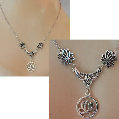 $ CDN20.19 • Buy Lotus Flower Necklace Silver Pendant Jewelry Handmade Women Chain Fashion