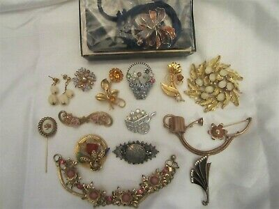 $ CDN30.37 • Buy Vintage Flower Jewelry Lot Rhinestone Signed 1928 Sarah Coventry In Box