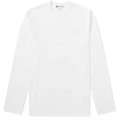 £49.58 • Buy Men's Y-3 Logo Crew Neck Long Sleeve T-Shirt In White Size Small