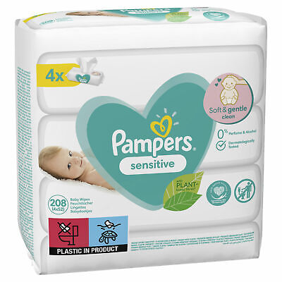4 X Pampers Baby Wipes Sensitive/Perfume Free, With Delicate PH Balance 52 Pack • 6.35£