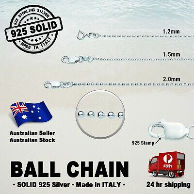 AU64.99 • Buy BALL Chain - 100% SOLID 925 Sterling Silver (options)