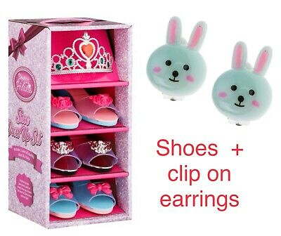 Princess Dress Up Shoes With Tiara & Clip On Earrings Size 10.5 DAMAGED BOX • 14£