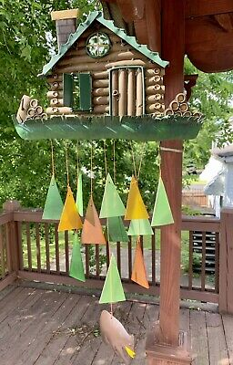 Metal Log Cabin & Bear Stained Glass Wind Chime Sun Catcher Mobile • 45.56£