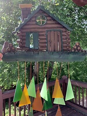 Metal Log Cabin & Bear Stained Glass Wind Chime Sun Catcher Mobile • 44.38£