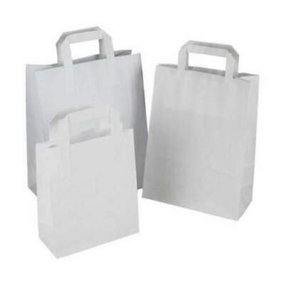 White With Strong Handle Craft Paper SOS Food Gifts Party Carrier Bags Takeaway • 15.50£
