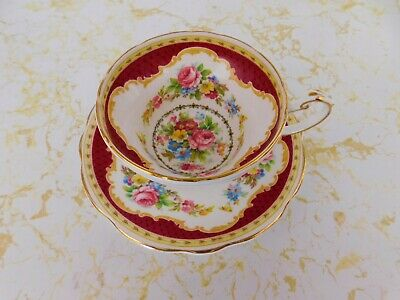 $15 • Buy Foley English Bone China Maroon Red  Windsor  Cup & Saucer