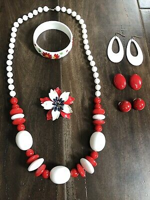 $ CDN29.53 • Buy Lot Of Red White & Blue Vintage Jewelry